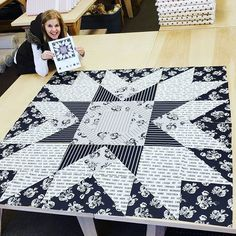 Sewing Block Quilts Its SEW NICE to make a big block quilt sometimes, because they sew together so fast! Big Block Quilts, Star Quilt Blocks, Star Quilt Patterns, Small Quilts, Mini Quilts, Pattern Blocks, Black And White Quilts, Black Quilt, Half Square Triangle Quilts