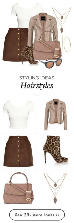"""""""poppin leather"""" by shoesclothesbagsaddict on Polyvore featuring moda, H&M, maurices, Christian Louboutin, MICHAEL Michael Kors, Michael Kors y Salvatore Ferragamo"""