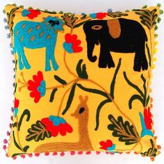 Suzani Pillow Cover Indian Boho Throw Cushion Cover Embroidery Pom Pom covers  #Handmade #Traditional