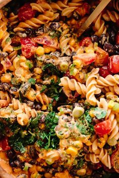 Southwest Vegan Pasta Salad | This simple summer pasta salad is packed with protein, vegetables, and the creamiest chipotle cashew dressing!