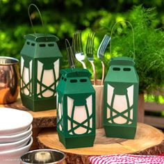 Our papercut camping lanterns are perfect for an outdoor adventure or celebration in your backyard! Use our SVG file or template to make your own lanterns.
