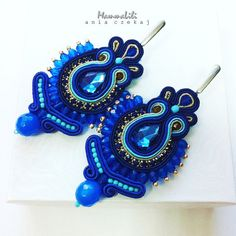 Sapphire Earrings by soutache   Very feminine and expressive earrings with a unique sculpture were made by. original design laborious technique braid