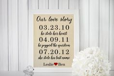 SALE Personalized Linen Print  Our Love by TheYellowDogShoppe
