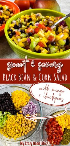 This Easy Black Bean and Corn Salad recipe has a delicious Mexican spin on it–we added mango for sweetness, chickpeas for extra protein, and just a bit of spices to make the flavors pop! This is a healthy plant based recipe that is Weight Watchers and 21 Day Fix friendly. Use it as a dip, a taco filling, or eat it by itself! #weightwatchers #ww #myww #21dayfix #21df #vegan #vegetarian #cleaneats #healthyrecipes