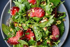 plum, date and pistachio salad with ginger lime dressing recipe on Food52