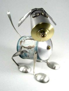 Metal sculptures made of spoons, forks and other items found at home, metal sculptures
