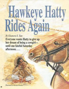 """American Girl Magazine - January 1993/February 1993 Issue - Page 41 (Part 1 of """"Hawkeye Hatty Rides Again"""" - A Story by Eleanora E. Tate)"""