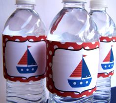 Nautical Party Decor - Printable Water Bottle Labels - The Nautical Collection by The Birthday House