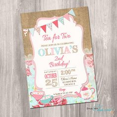 Tea for two invitation tea party invitation 2nd por StyleswithCharm