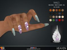 Sims 4 Nails, Cc Nails, Sims 4 Game Mods, Sims Mods, Sims 4 Mods Clothes, Sims 4 Clothing, Packs The Sims 4, Sims Challenge, Sims 4 Pets