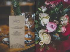 print rustic menu cards for each place setting. love the orange ampersand.