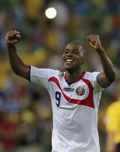 Costa Rica upsets Uruguay at World Cup - Costa Rica's Joel Campbell celebrates after the group D World Cup soccer match between Uruguay and Costa Rica at the Arena Castelao in Fortaleza, Brazil, Saturday, June 14, 2014. Costa Rica won the match 3-1. (AP Photo/Bernat Armangue)