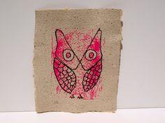 {hot pink owl linocut} + handmade coffee paper