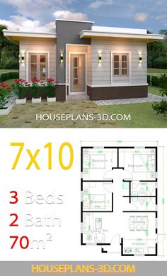 House Plans with Hip Roof. 19 House Plans with Hip Roof. House Plans with 3 Bedrooms Hip Roof Small House Floor Plans, My House Plans, House Layout Plans, Simple House Plans, Simple House Design, Tiny House Design, House Layouts, Flat Roof House Designs, Three Bedroom House Plan