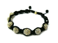 Gold Shamballa 10mm Glass Beaded Macrame Bracelet with 7 Iced Out Disco Balls JOTW. $19.95. Great Quality Jewelry!. Unique adjustable pull string cobra stitched lanyard design.. 100% Satisfaction Garunteed!