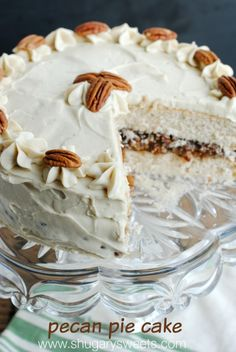 Pecan Pie Cake: double layer spice cake, from scratch, with a pecan pie filling and brown sugar frosting!