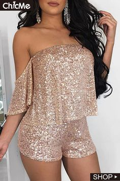 QILI New Hot Women's Two-Piece Sequined Jumpsuit Rompers Women Off Shoulder High Street Fashion Rompers Sexy Jumpsuits Striped Cami Tops, Crop Tops, Sequin Jumpsuit, Off Shoulder Crop Top, Rompers Women, Pattern Fashion, Sleeve Styles, Cute Outfits, Clothes For Women