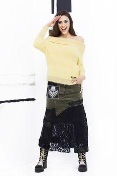 Look 152 - Elisa Cavaletti Boho Chic, Shabby Chic, Elisa Cavaletti, Fasion, Lace Skirt, Ankle Boots, Denim, Knitting, Yellow