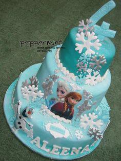 Frozen themed birthday cake Frozen Themed Birthday Cake, Peppermint Cake, Desserts, Food, Tailgate Desserts, Deserts, Essen, Dessert, Yemek