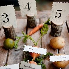 Like the tree branches used for table numbers.  Winter wedding = great flowers, good ideas for centerpieces (garden theme...)