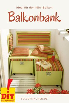 Even if the balcony is still so small - with this practical bench, which is easy to copy, you can on warm summer days for two . - Catarina Schultz - All About Balcony Upcycled Home Decor, Upcycled Furniture, Home Furniture, Diy Home Decor, Small Balcony Design, Balcony Lighting, Balustrades, Balkon Design, Home Decor Ideas