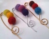 Felted Shawl Pins! I should get my daughter to make me one of these,,considering this is her shop. :)