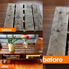 BEFORE & AFTER!! When most people see wood pallets they think only of garbage or maybe even kindling. When Olga saw the pallet pictured above she saw possibility. She lugged the pallet home and set about finding a way to use it. After it sat in a corner for a month, Olga finally gave the pallet new life.