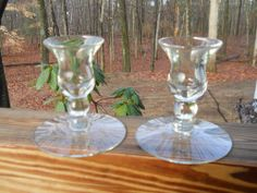 """VINTAGE CRYSTAL PAIR CLEAR CRYSTAL GLASS CANDLE HOLDERS 4"""" EXCELLENT CONDITION! $9.99 ob $20.00 BIN $9.99 sh ends 1/23"""