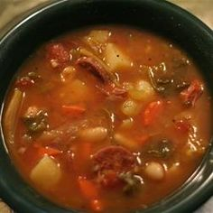 Portuguese Bean Soup Reminds me of Grandma... Nix the potatoes and add more beans = slow carb.