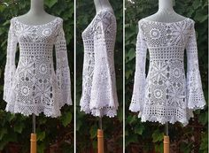 Boho Tunic with Bell Sleeves and scalloped by EasyBreezyCoverUp