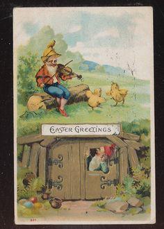 Elfs Gnomes Easter Chicks Antique Embossed Postcard BBB266 | eBay