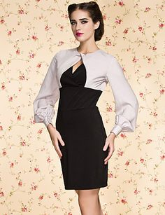 TS VINTAGE Contrast Color Puff Sleeve Mix Fabric Dress $35.99