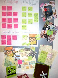 I'm crazy about this board. The color, the organized mess, the creative look - it's everything this visual business girl wants to see! The Moola Map via The Right Brain Business Plan - Kristina Ender #business #handmade
