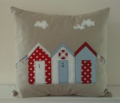 Beach Hut and bunting cushion cover in natural door mojosewsew