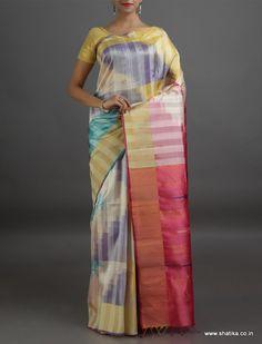 Rakshita Striking Stripes Lustrous Pure #IkatSilkSaree