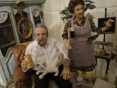 Archie and Edith Bunker--the cat is from Reve-most of the furniture is from June Clinksales-Louise Glass
