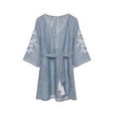 ANCIENT KALLOS Light Blue Karpathos Embroidered Linen Kaftan Dress (16.405 RUB) ❤ liked on Polyvore featuring dresses, embroidered dress, blue kaftan, embroidered kaftan, broderie dress and linen dresses