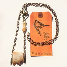 """Super Sparkly Citrine Slice Long Necklace with side of """"Love"""" and even more Citrine! Feathers for Flying & Etched Copper Chain. TAKE FLIGHT by TakeFlightStudioWA on Etsy"""