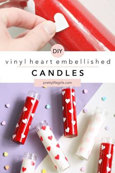 DIY Vinyl Heart Candles - The Pretty Life Girls | These heart embellished candles are so cute and easy to make with a Silhouette machine (or heart hole punch), some adhesive vinyl, and dollar store candles! We whipped these up in no time, and they are the perfect, simple decor for Valentine's Day! Click to learn how to make these DIY Vinyl Heart Candles!