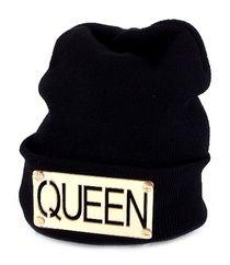 """Stylish black & gold """"Queen"""" beanie."""