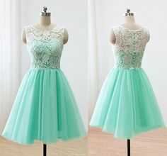 Sleeveless Green Prom Dress, Illusion Lace Prom Dresses with Buttons, Elegant Mint Short Homecoming Dress, sold by VanessaWu. Shop more products from VanessaWu on Storenvy, the home of independent small businesses all over the world. Cute Homecoming Dresses, Prom Dresses 2016, Dresses For Teens, Formal Dresses, Evening Dresses, Dresses Dresses, Dress Prom, Vestidos Color Verde Agua, Ivory Bridesmaid Dresses