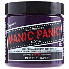 Hair Color Cream, Hair Color Purple, Purple Haze, Manic Panic Hair Color, Manic Panic Colors, Scene Hair Tutorial, Scene Hair Bangs, Scene Hair Colors, Hair Dyed Underneath