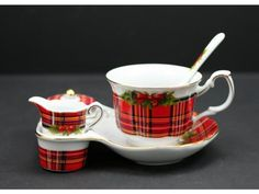 Cup & Tray with Cute Creamer & Sugar - Scottish Red Plaid