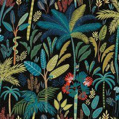 Tropical Eden Peel and Stick Wallpaper - Large Sample / Blue
