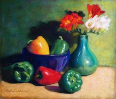 Original signed painting of peppers, pastel on pastel paper