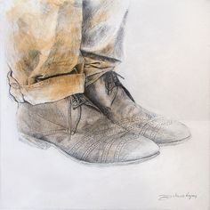 Kai Fine Art is an art website, shows painting and illustration works all over the world. Art Sketches, Art Drawings, Feet Drawing, Charcoal Art, Shoe Art, Sketch Design, Behance, Man Photo, Drawing Techniques