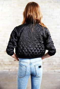 Finger in the Nose Spring Summer 2015  Ophelia Black Swan - Quilted Bomber Jacket   Kendall Blue Denim Snow - High Waisted Skinny Fit Jeans