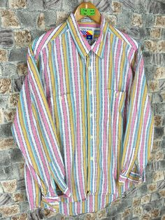 Excited to share this item from my #etsy shop: Vintage Flannel Shirt Stripes Large New Work Hip Hop Style Oversized Striped Multicolour Flannel Grunge Buttondown Oxfords #vintagewestern #flanneloversize #hiphop90sshirt #flannelstriped #stripesmulticolour #hipsterflannel #multicolourstripes #menstripedoxfords #90sclothing