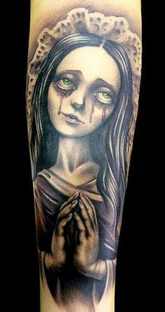 Realistic 2 colors Cartoon tattoo art by Demon Tattoo Great Tattoos, Beautiful Tattoos, Beautiful Body, Johnny Depp, Cartoon Tattoos, Horror Tattoos, Female Demons, Demon Tattoo, Just Ink