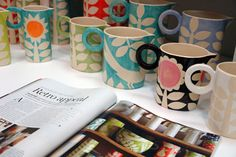 cute mugs...for inspiration if I ever get back to a pottery painting place.